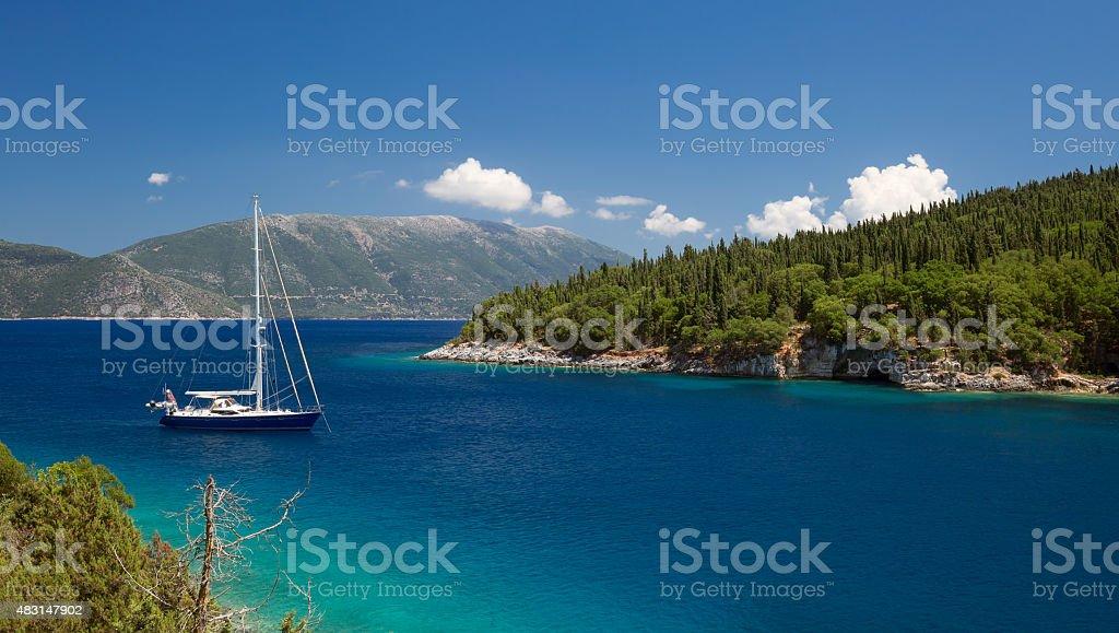 Beach of Foki Fiskardo, Kefalonia, Ionian islands, Greece stock photo