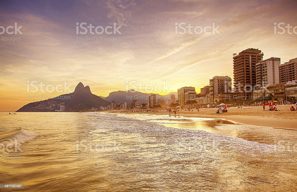 Beach of Ipanema in Rio de Janeiro, Brazil stock photo
