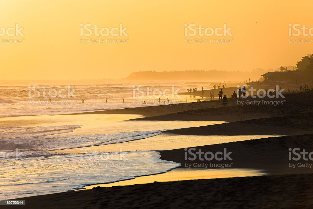 Beach of Kuta in Bali stock photo