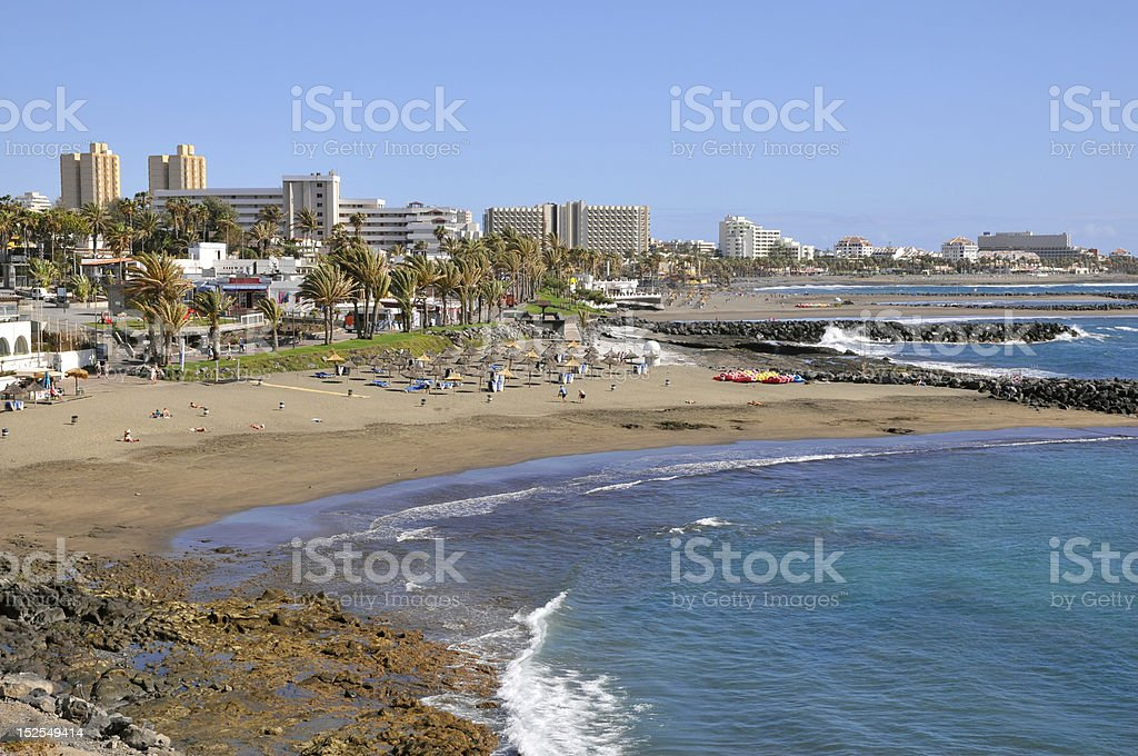 Beach of Las Americas at tenerife stock photo