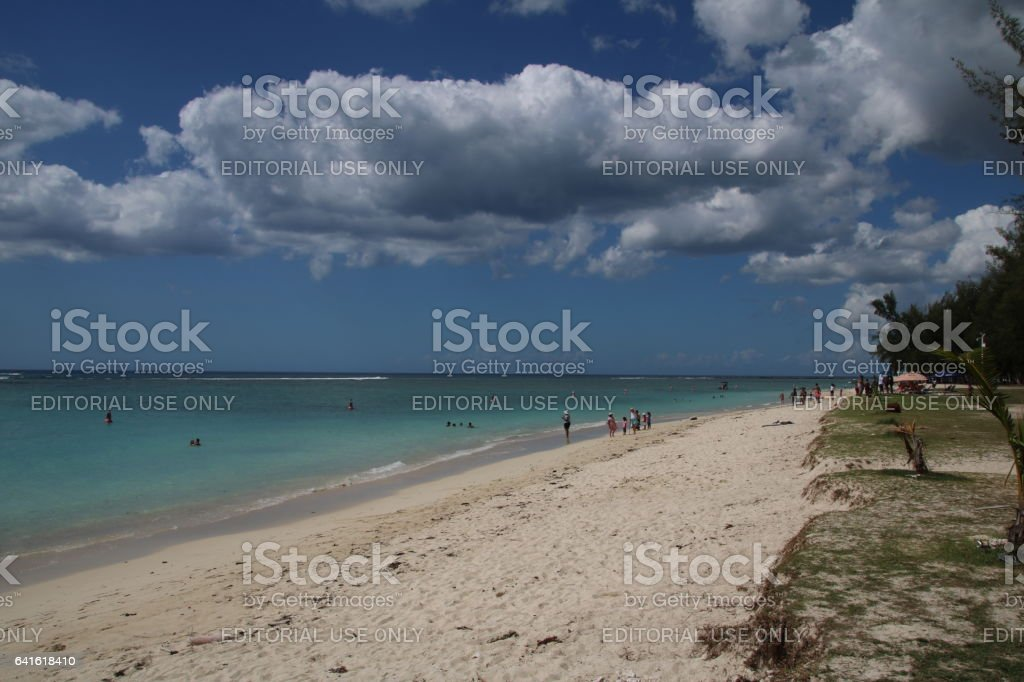 Beach of Le Morne, Mauritius, Indian Ocean, Africa stock photo