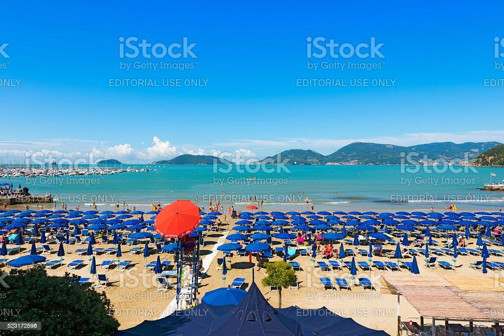 Beach of Lido di Lerici - Lerici Italy stock photo
