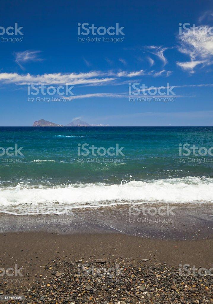Beach of Lipari island stock photo