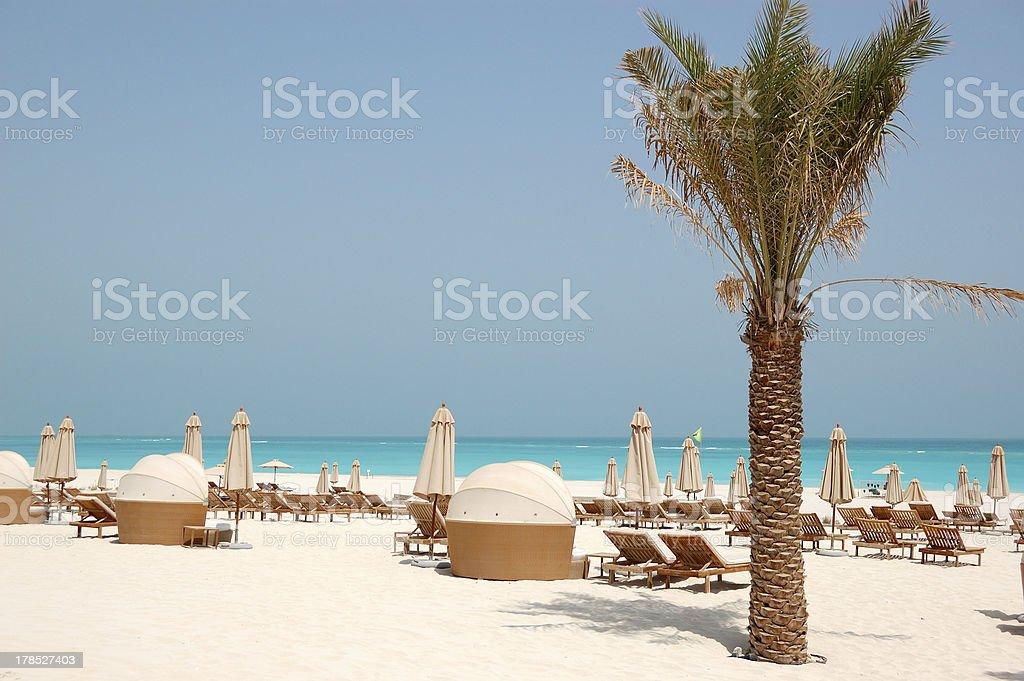 Beach of luxury hotel, Abu Dhabi, UAE stock photo