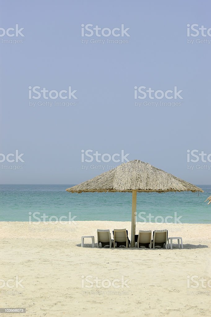 Beach of luxury hotel, Dubai, UAE royalty-free stock photo