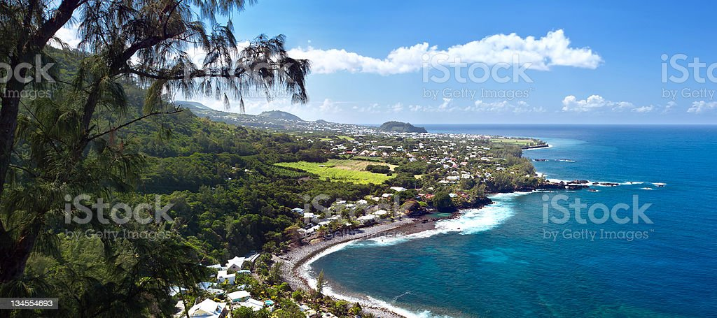 Beach of Manapany - Reunion Island. stock photo