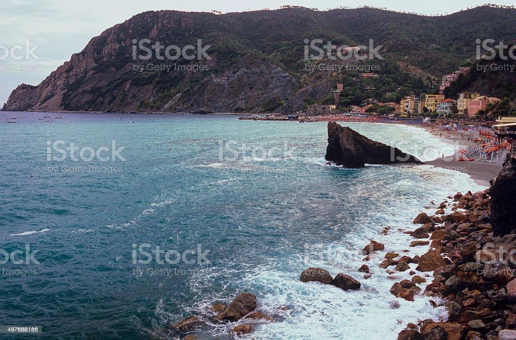 Beach of Monterosso, Italy - Aerial view stock photo