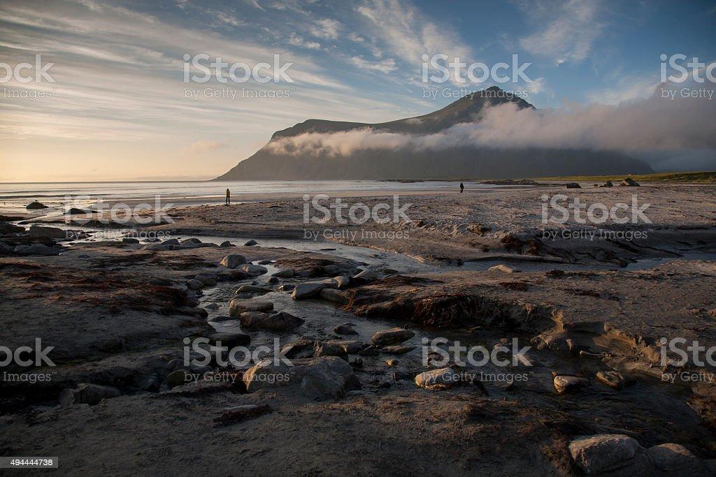 beach of ramberg,flakstad,lofoten,norway stock photo