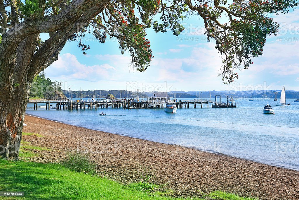 Beach of Russell, Bay of Islands, New Zealand stock photo