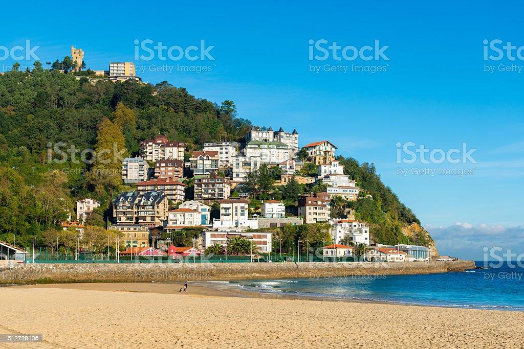 Beach of San Sebastian, Spain stock photo