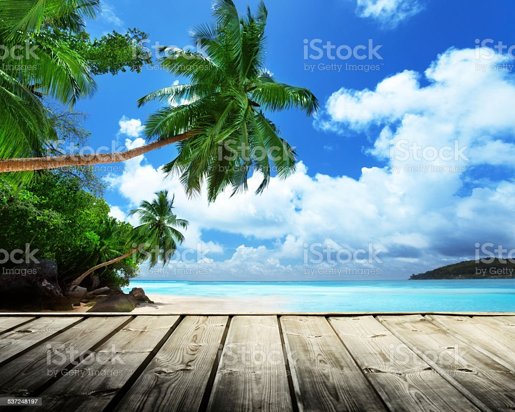 beach of Seychelles stock photo