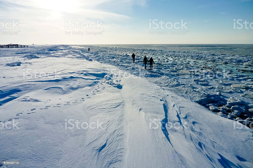Beach of St. Peter-Ording in winter stock photo