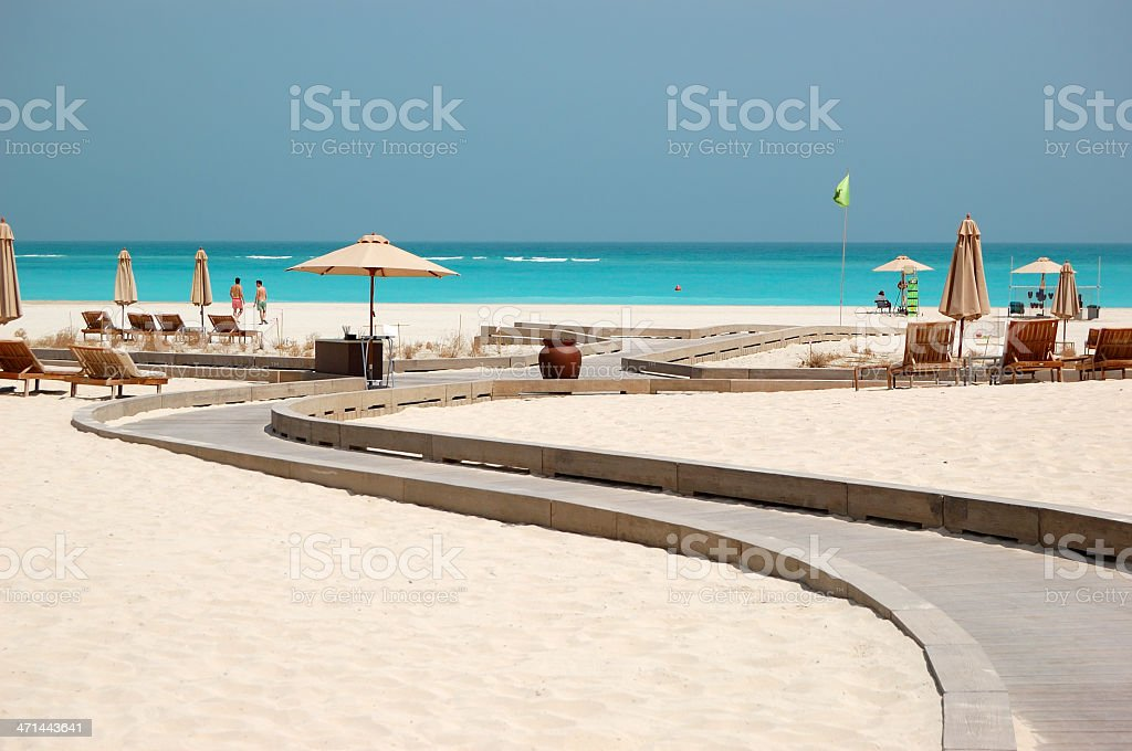 Beach of the luxury hotel, Abu Dhabi, UAE stock photo