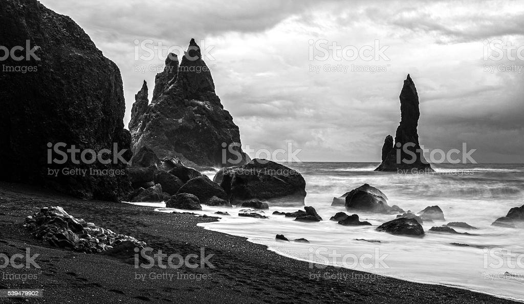 beach of vik stock photo