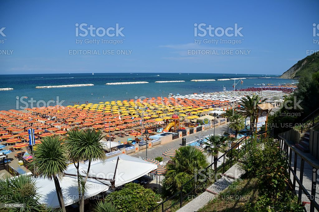 Beach on a summer day in Gabicce, Italy stock photo