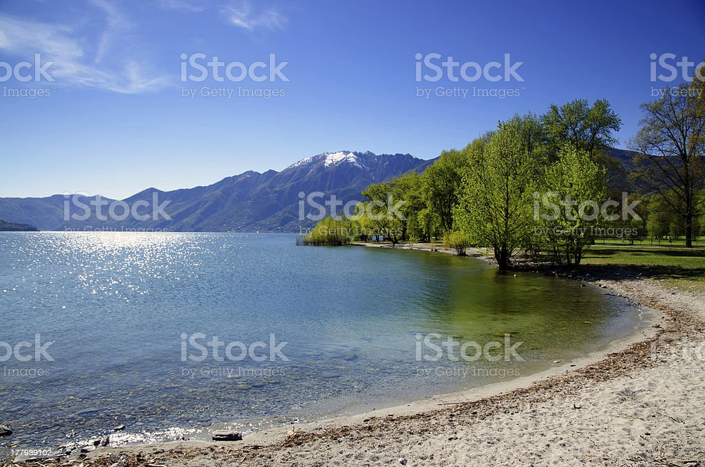 Beach on an alpine lake royalty-free stock photo