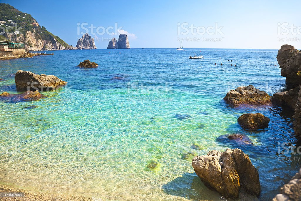 Beach on Capri Island stock photo