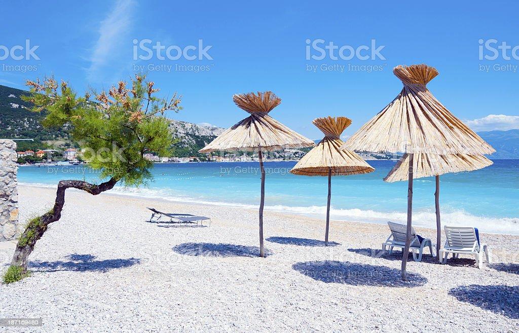 Beach on island Krk in Croatia stock photo