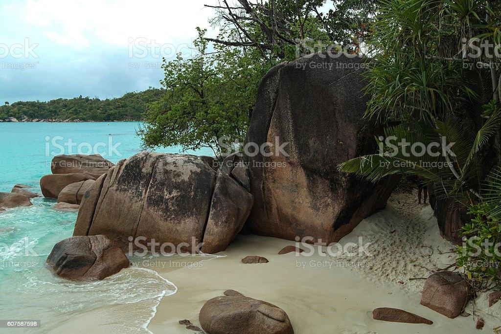 Beach on La Digue island, Seychelles stock photo