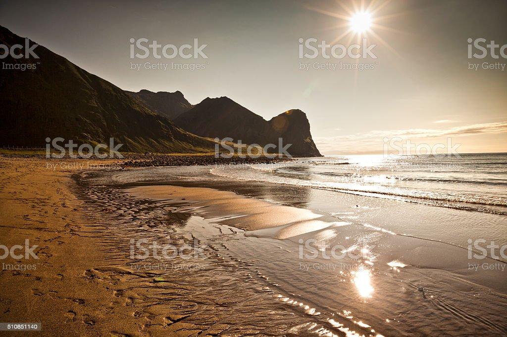 Beach on Lofoten in Unstad, Norway stock photo