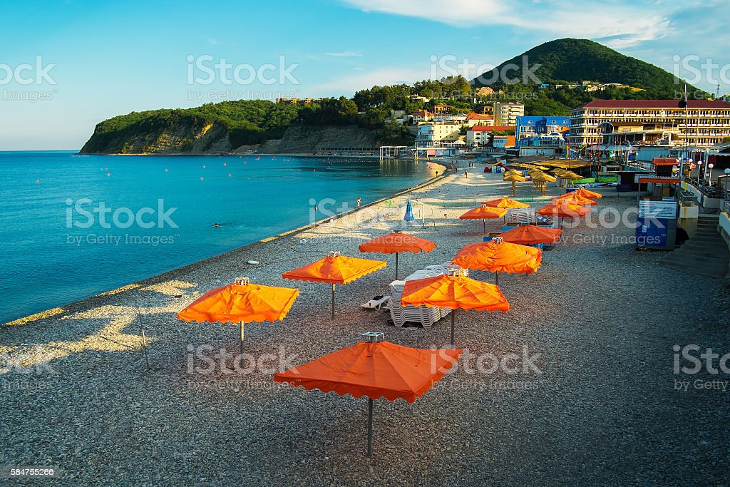 Beach on the Black Sea. Russia, Tuapse district, Olginka Village stock photo