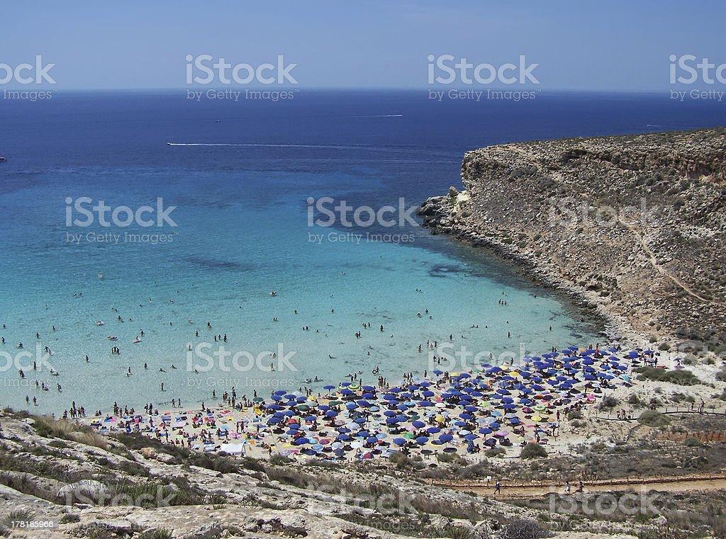 beach on the island of rabbits. Lampedusa- Sicily stock photo