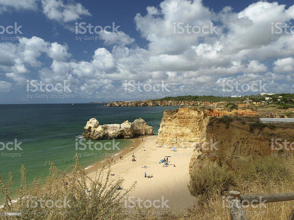 beach on the southern coast of  Portuguese Algarve region. stock photo