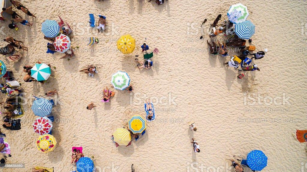 Beach on top angle of view in Rio de Janeiro stock photo