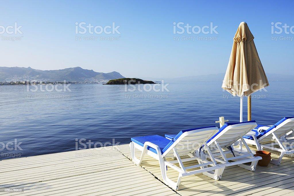 Beach on Turkish resort, Bodrum, Turkey stock photo