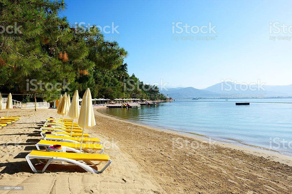 Beach on Turkish resort, Fethiye, Turkey stock photo