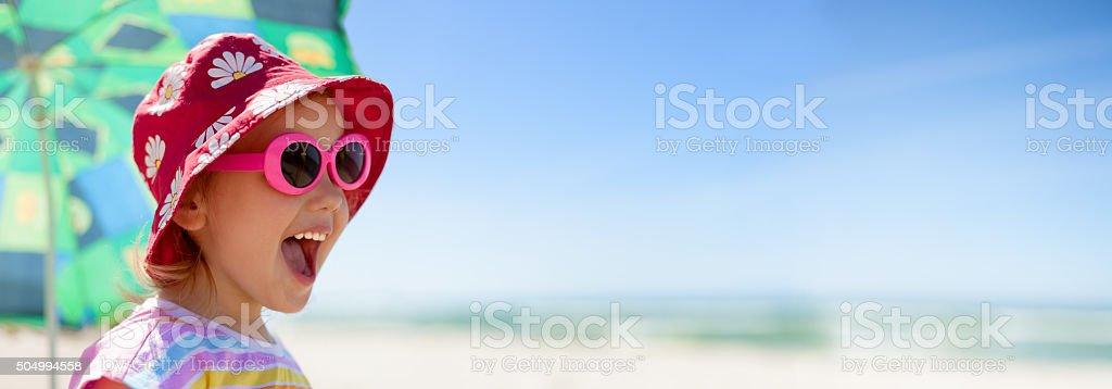 beach panoramic child happy summer vacations stock photo