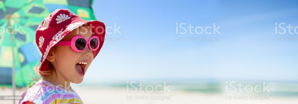 beach panoramic child happy summer vacations stock photo