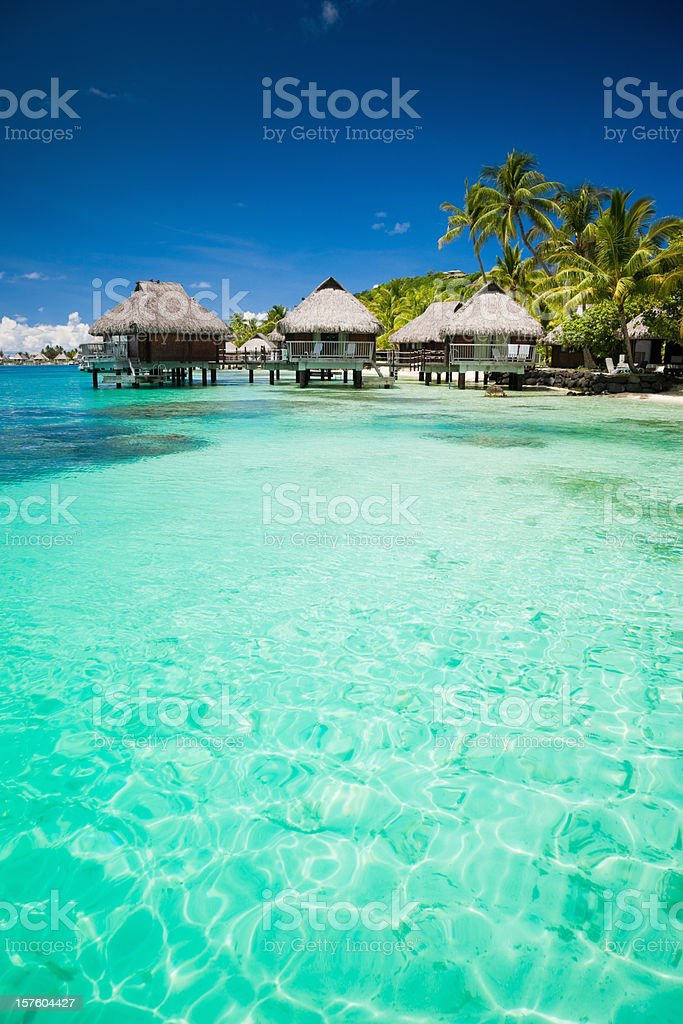 Beach Paradise Summer Holidays Hotel Cottages royalty-free stock photo
