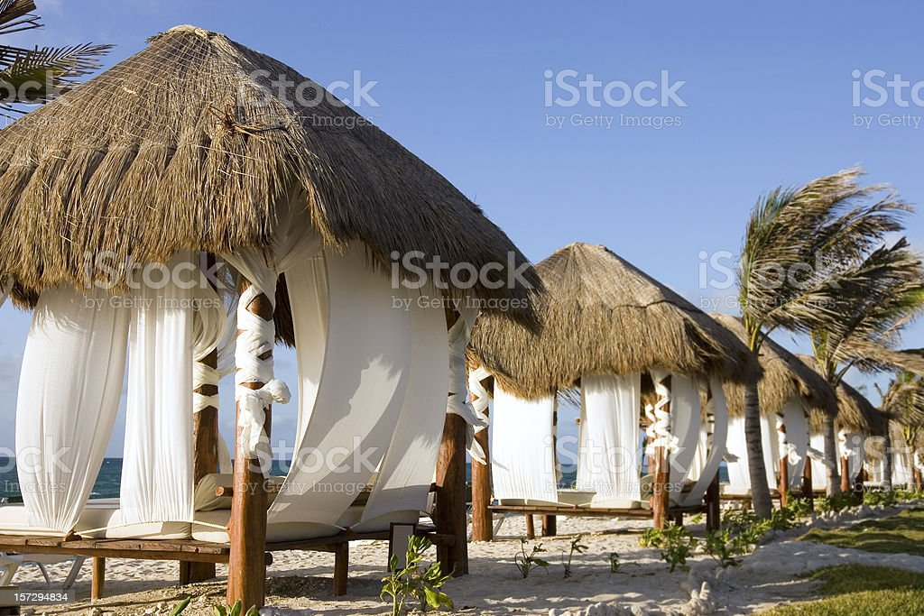 Beach Paradise With Cabanas and Palm Trees, Copy Space stock photo