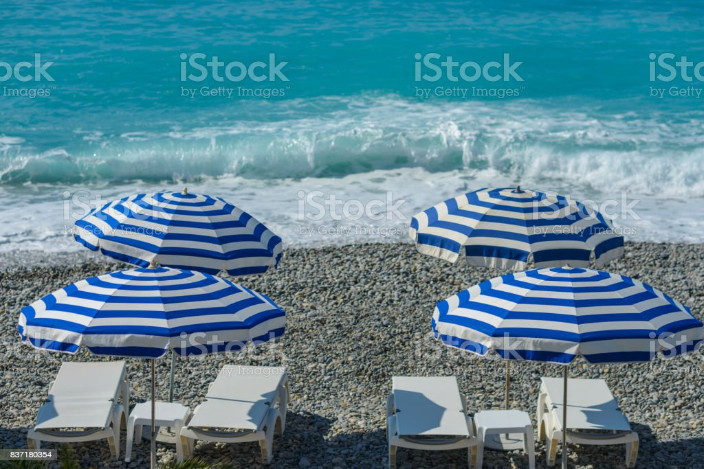 Beach Parasol in Nice, France stock photo