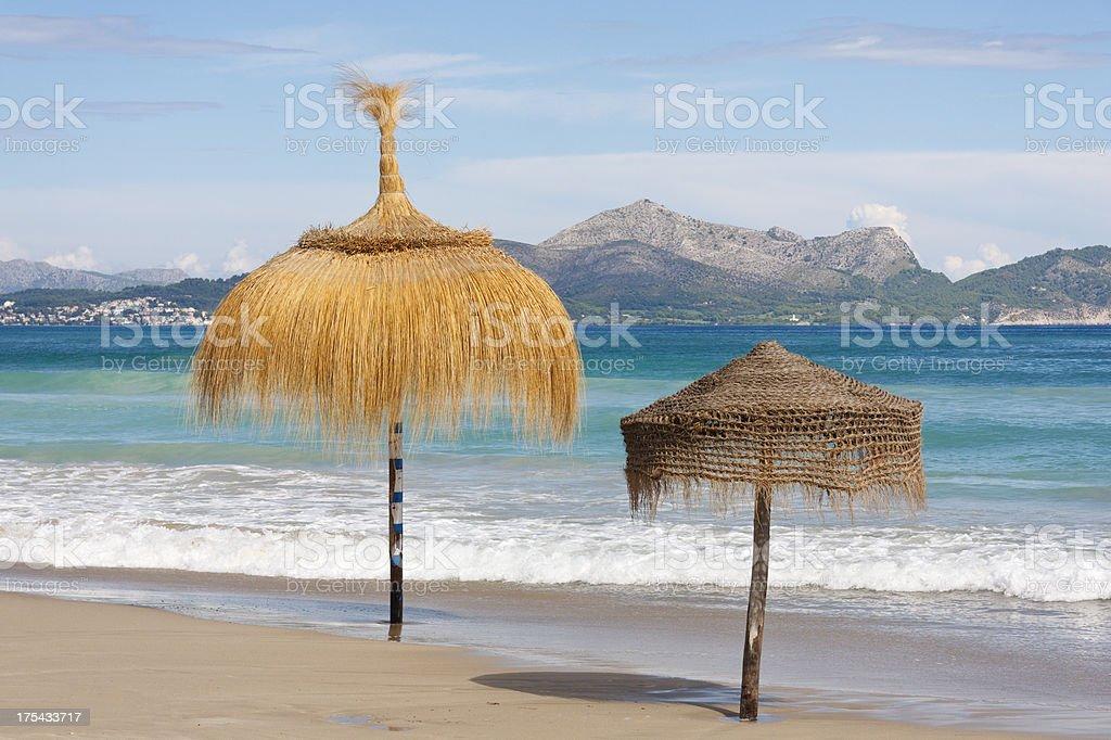 Beach Parasols And Blue Sky stock photo