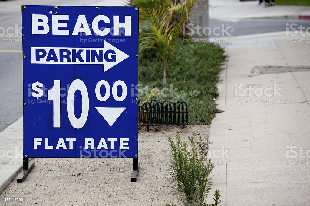 Beach Parking Sign, Venice, Los Angeles California royalty-free stock photo