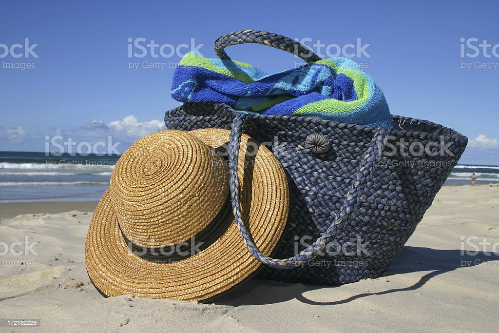 beach party hat and bag royalty-free stock photo