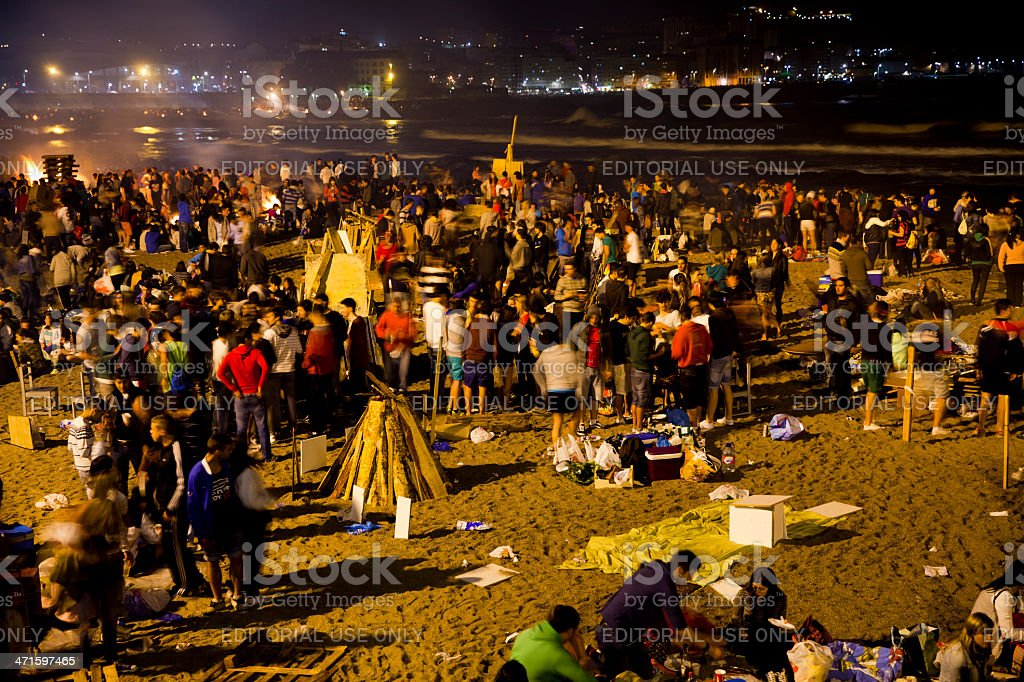 Beach party of San Juan in La Coruña royalty-free stock photo