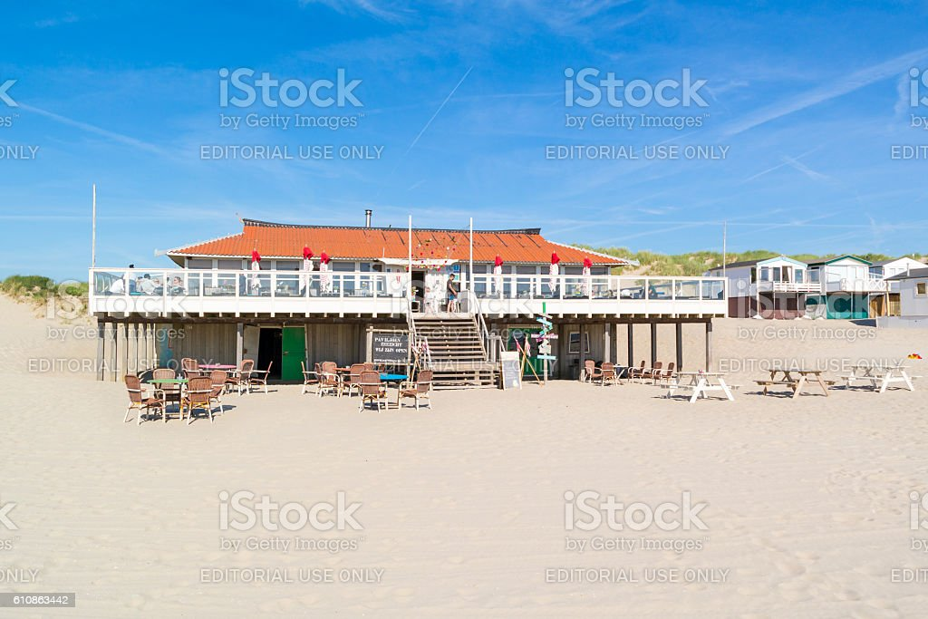 Beach pavilion in Netherlands stock photo