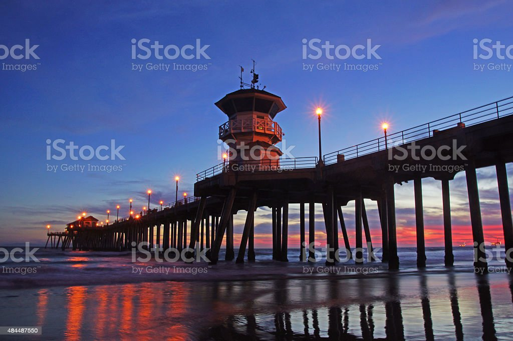 Beach Pier on California coast stock photo