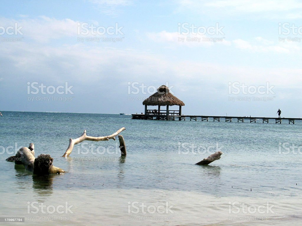 Beach Pier with hut in Belize, Ambergris caye royalty-free stock photo