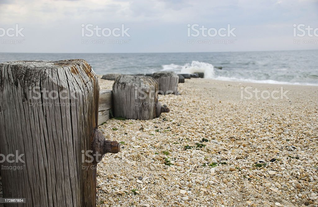 Beach piling royalty-free stock photo