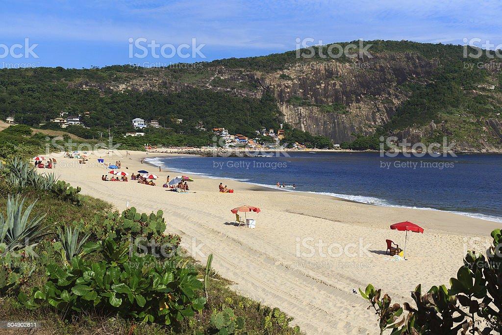 Beach Piratininga people sand sea Niteroi Rio de Janeiro stock photo