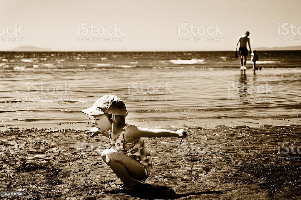 Beach Play (Sepia) royalty-free stock photo