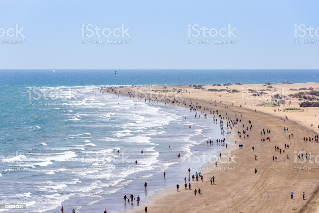 Beach Playa del Ingles on Gran Canaria - Spain stock photo