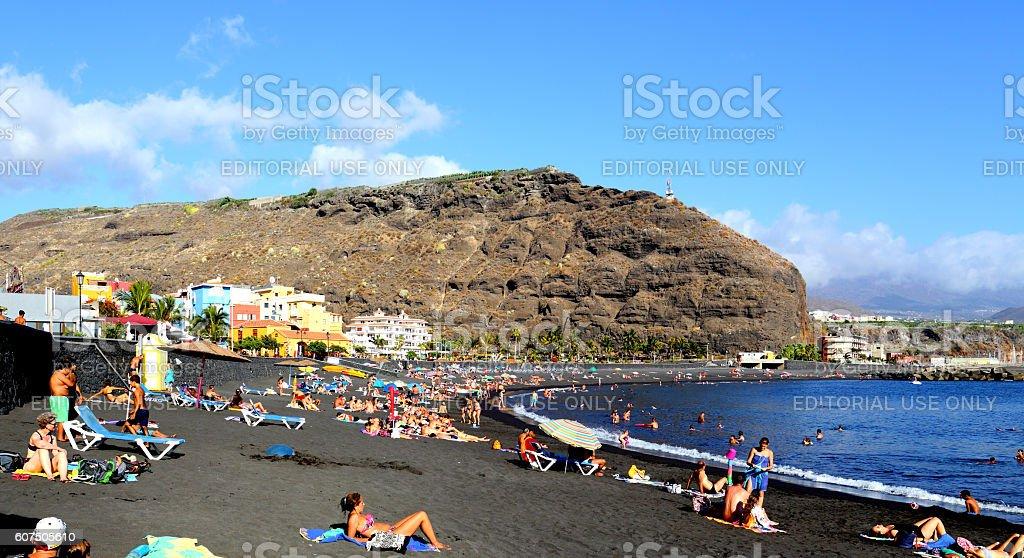 Beach: Playa Puerto de Tazacorte, La Palma stock photo