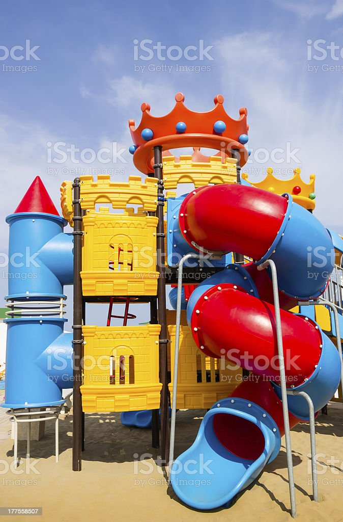 Beach Playground for Children - Multi Colored Helter Skelter stock photo