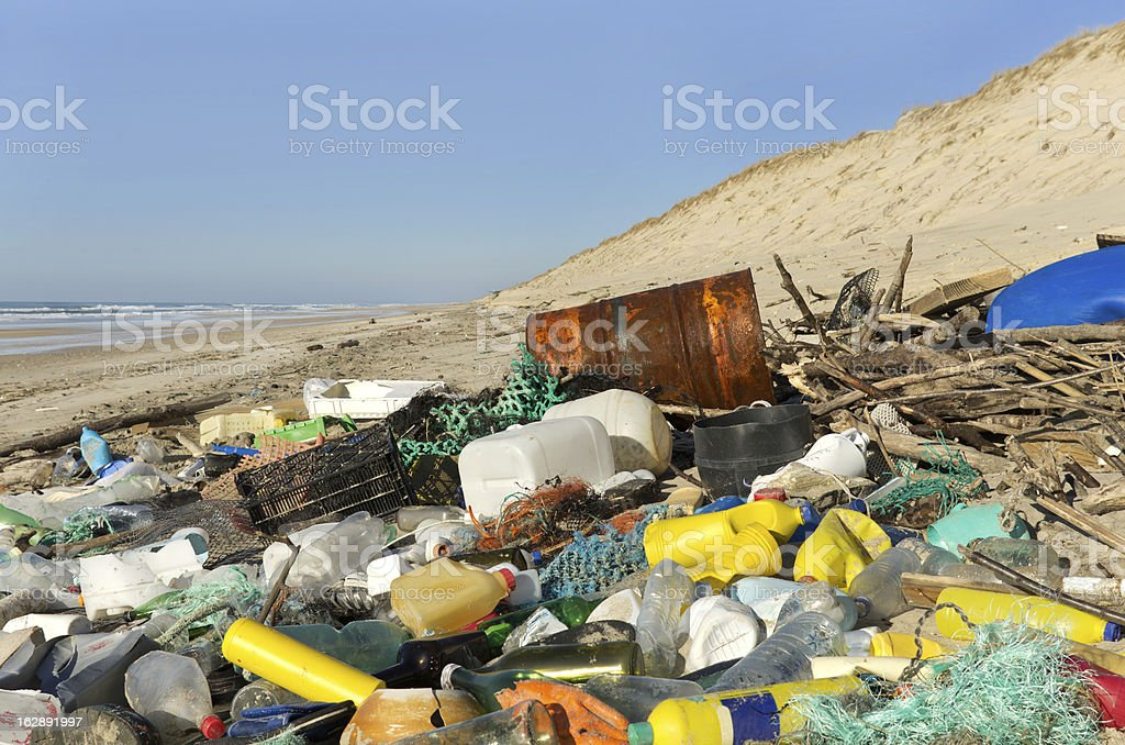 Beach pollution royalty-free stock photo