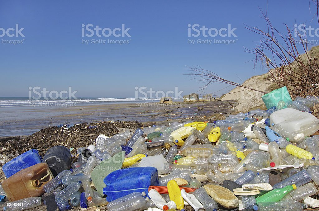 Beach pollution stock photo